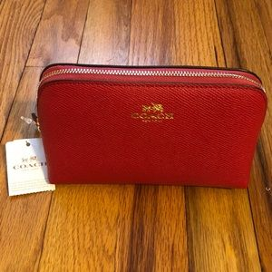 NWT Coach Cosmetic Makeup Bag Red